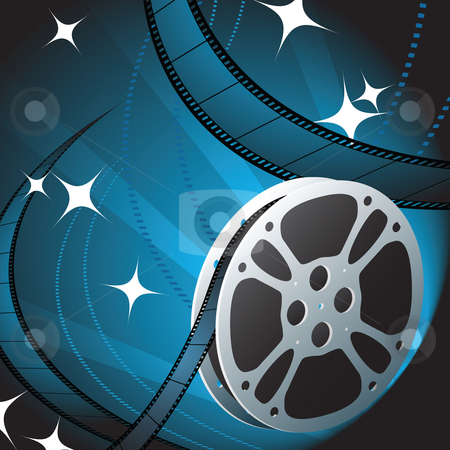 Movie Reel Background Blue Film Reel on Blue Background