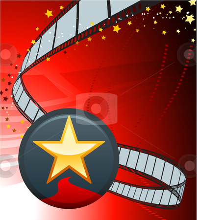 Star button with film reel stock vector clipart, Original Vector Illustration: star button with film reel AI8 compatible by L Belomlinsky