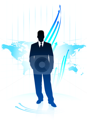 Young business man pointing on world map background stock vector clipart,  by L Belomlinsky