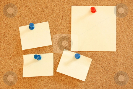 Blank sheet of paper on bulletin board stock photo, Blank and empty sheet paper with copyspace on bulletin board in office by Gunnar Pippel