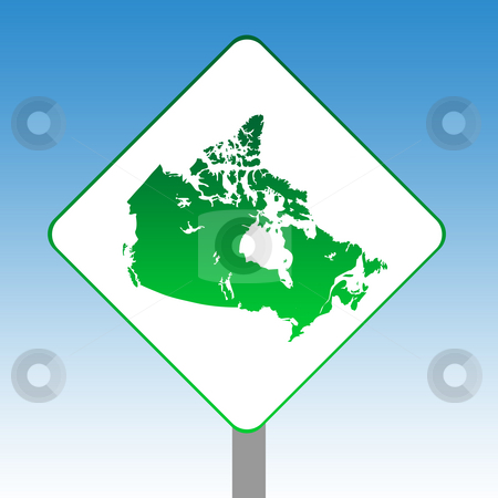 Canada map road sign stock photo, Country of Canada map road sign in green isolated on white with blue sky background. by Martin Crowdy