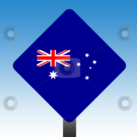 Australian flag sign stock photo, Australian flag on road sign with blue sky background. by Martin Crowdy