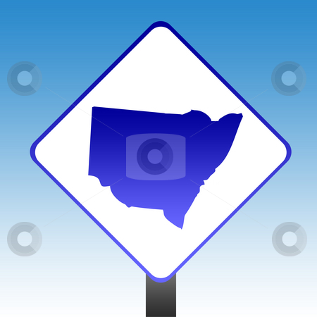 New South Wales sign stock photo, Australian state of New South Wales road sign with blue sky background. by Martin Crowdy