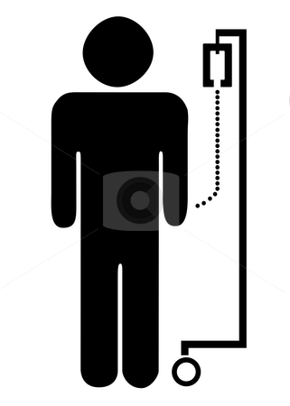 Patient on drip stock photo, Silhouetted symbol of male patient on drip, isolated on white background. by Martin Crowdy