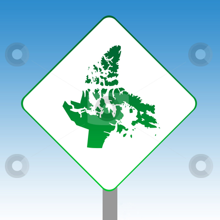 Nanavut map road sign stock photo, Canadian state of Nanavut map road sign in green isolated on white with blue sky background. by Martin Crowdy