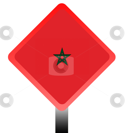 Morocco road sign stock photo, Morroc flag road sign isolated on white background wit copy space. by Martin Crowdy