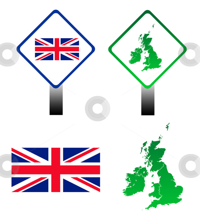 Union Jack flag signs stock photo, Set of four signs and maps of United Kingdom, isolated on white background. by Martin Crowdy
