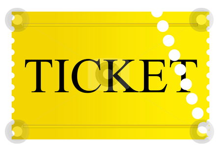 Used golden ticket stock photo, Used golden ticket isolated on a white background. by Martin Crowdy