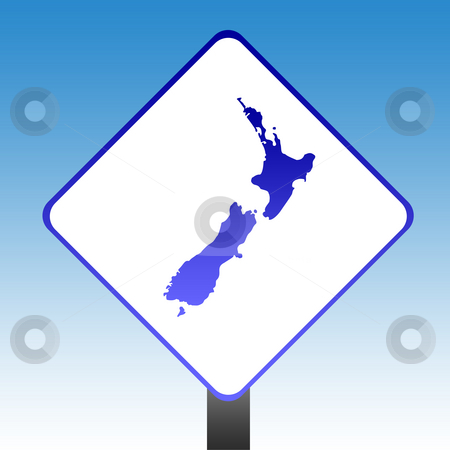 New Zealand Sign stock photo, New Zealand road sign with blue sky background. by Martin Crowdy