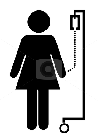 Patient on drip stock photo, Silhouetted symbol of female patient on drip, isolated on white background. by Martin Crowdy