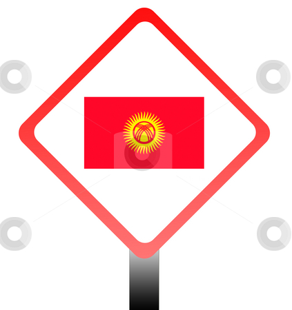 Kyrgyzstan stock photo, Republic of Kyrgyzstan flag on road sign isolated on white background. by Martin Crowdy
