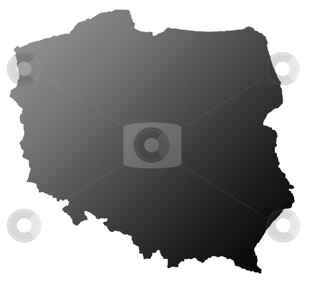 Poland map silhouetted stock photo, Silhouetted map of Poland, isolated on white background. by Martin Crowdy