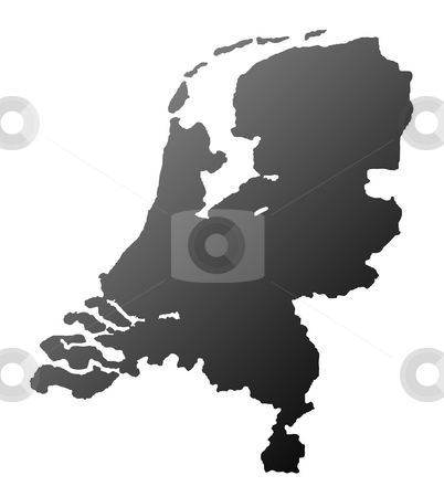 Netherlands Map silhouette stock photo, Silhouetted Netherlands map isolated on white background. by Martin Crowdy