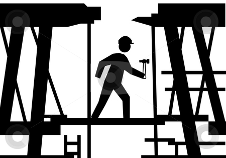 Worker on building site stock photo, Silhouetted on workman with hammer on building site scaffolding. by Martin Crowdy