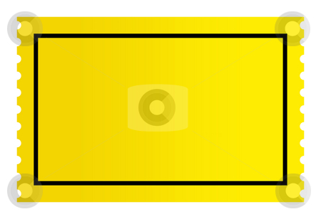 Blank golden ticket stock photo, Blank golden ticket isolated on white background. by Martin Crowdy