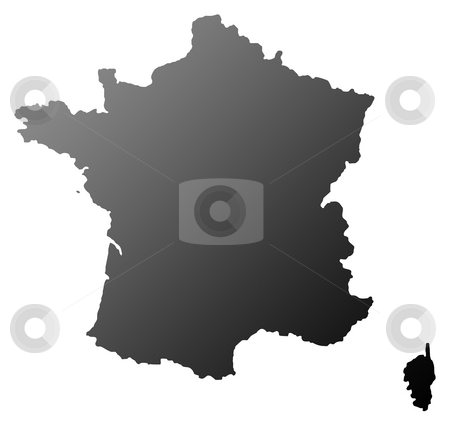 France map silhouette stock photo, Silhouetted map of France isolated on white background. by Martin Crowdy