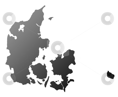Denmark map silhouette stock photo, Silhouetted map of Denmark, isolated on white background. by Martin Crowdy