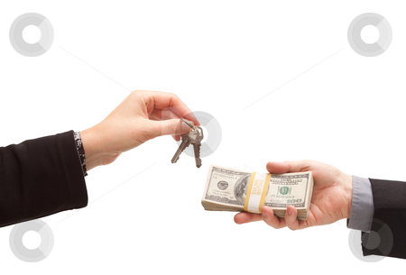 Handing Over Cash For Keys Isolated stock photo, Handing Over Cash For Keys Isolated on a White Background. by Andy Dean