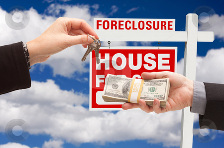 Handing Over Cash For House Keys stock photo, Handing Over Cash For House Keys in Front of Foreclosure Sign and Cloudy Blue Sky. by Andy Dean