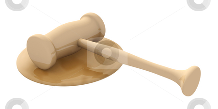 Auction Hammer stock photo, 3D rendered Illustration. Isolated on white. An Auction or Court Hammer. by Michael Osterrieder