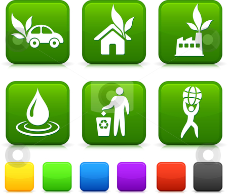 Nature Environment icons on square internet buttons stock vector clipart, Nature Environment icons on square internet buttons Original vector Illustration by L Belomlinsky