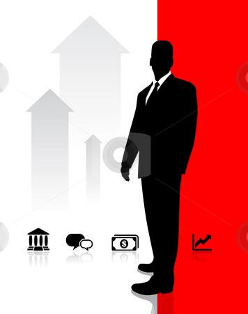 Businessman with Icons stock vector clipart, Businessman with Icons Original Vector Illustration Businessmen Concept by L Belomlinsky