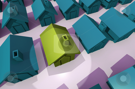 Spot light on illustrated house stock photo, View from above of street on green houses and yellow house by Michael Travers