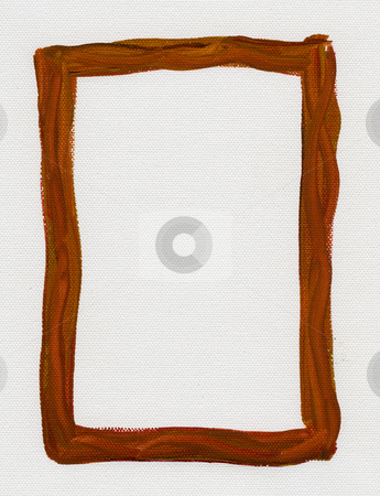 Brown red  frame painted on white canvas stock photo, Hand painted  brown red watercolor frame (border) surrounding white blank rectangle on artist canvas with a coarse texture by Marek Uliasz