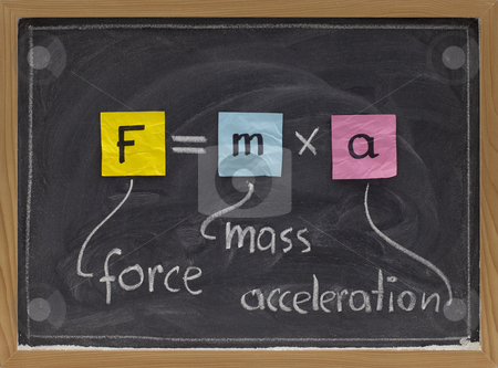 Newton second law on blackboard stock photo, Force applied to a body produces a proportional acceleration - Newton second law presented with sticky notes and white chalk handwriting on blackboard by Marek Uliasz