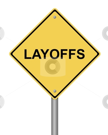 Warning Sign Layoffs stock photo, Blank yellow warning sign on white background by Henrik Lehnerer