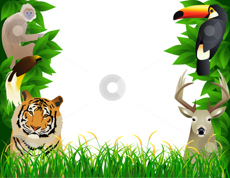 Tropical jungle stock vector clipart, Vector illustration wild animal ...