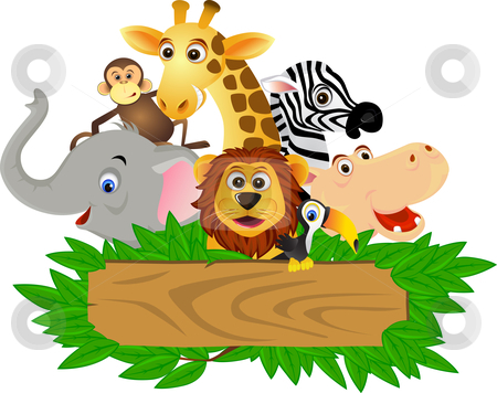 Funny animal cartoon stock vector clipart, Funny animal cartoon in the ...