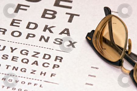 Old tinted glasses stock photo, Tinted lenses in old fashioned eye glass frame resting on eyechart by Stephen Orsillo