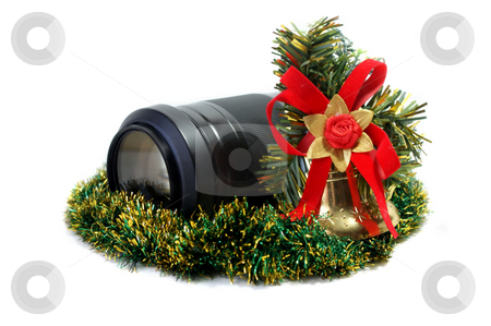 Lens and Christmas toy stock photo, Isolated object on a white background. by Sergey Skryl