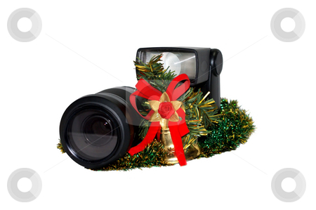 The lens, flash and Christmas decorations stock photo, Isolated object on a white background. by Sergey Skryl