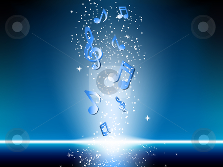 Blue background with music notes and stars stock vector clipart, Blue background with music notes and stars. Editable Vector Image by gubh83