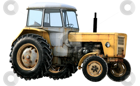 Yellow tractor stock photo, Yellow tractor isolated over white background by Jan Remisiewicz