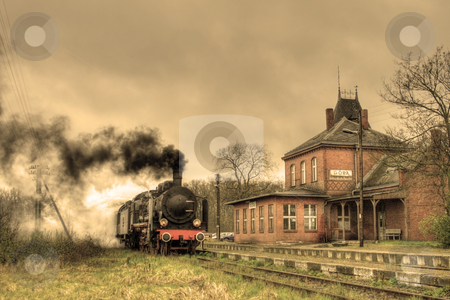 Old retro steam train stock photo, Old retro steam train stopped at the small station by Jan Remisiewicz