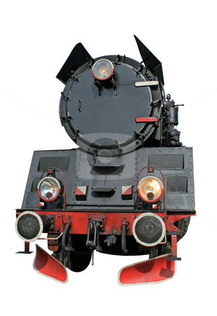 Steam locomotive stock photo, Steam locomotive isolated over white background by Jan Remisiewicz