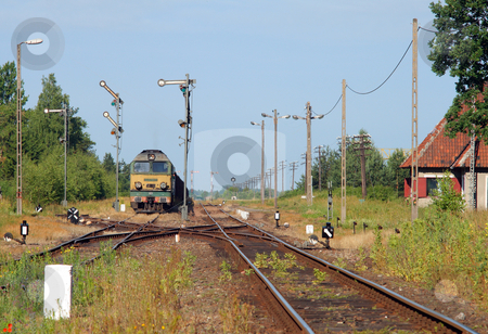 Summer landscape with the freight train stock photo, Rural summer landscape with freight train starting from the station by Jan Remisiewicz