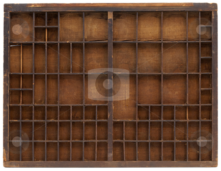 Vintage wooden typesetter case stock photo, Vintage wooden typesetter case or shadow box with scratches, cracks and staines, isolated on white with clipping path, multiple dividers by Marek Uliasz