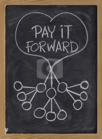 Pay it forward stock photo, Pay it forward concept illustrated with white chalk drawing on blackboard by Marek Uliasz