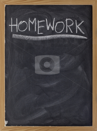 Homework assignment on blackboard stock photo, Homework word handwritten with white chalk on blackboard with strong texture and smudge patterns, copy space below by Marek Uliasz