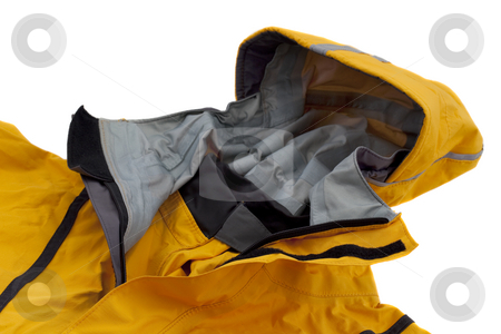 Waterproof breathable paddling jacket with hood stock photo, Hood and collar of waterproof sea kayaking jacket (anorak) , focus on double closure (zipper and velcro) and neck rubber gasket, isolated on white by Marek Uliasz