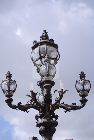 Paris street lamp stock photo, Vintage street lamp in paris france by Olivia Neacsu