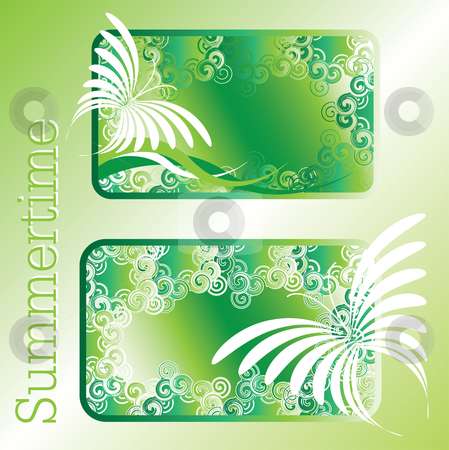 Summertime stock vector clipart, Green summertime design with abstract butterflies by Karin Claus