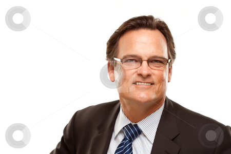 Handsome Businessman Portrait on White stock photo, Handsome Businessman Smiling in Suit and Tie Isolated on a White Background. by Andy Dean