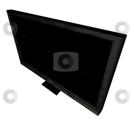 Television above angle stock photo, Modern flat screen television viewed from an angle by Michael Travers