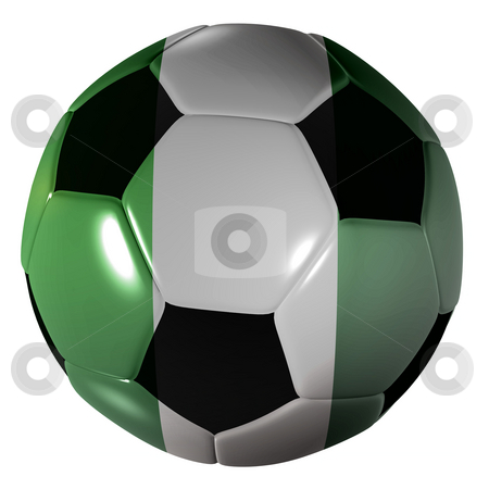 Football nigeria flag stock photo, Traditional black and white soccer ball or football nigeria flag by Michael Travers