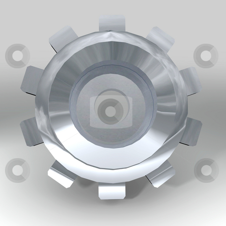Silver bevel gear stock photo, Silver metal gear or cog with teeth and shadow by Michael Travers